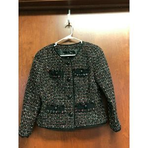 Talbots Black Red Gold Silver Lined Jacket Size 2